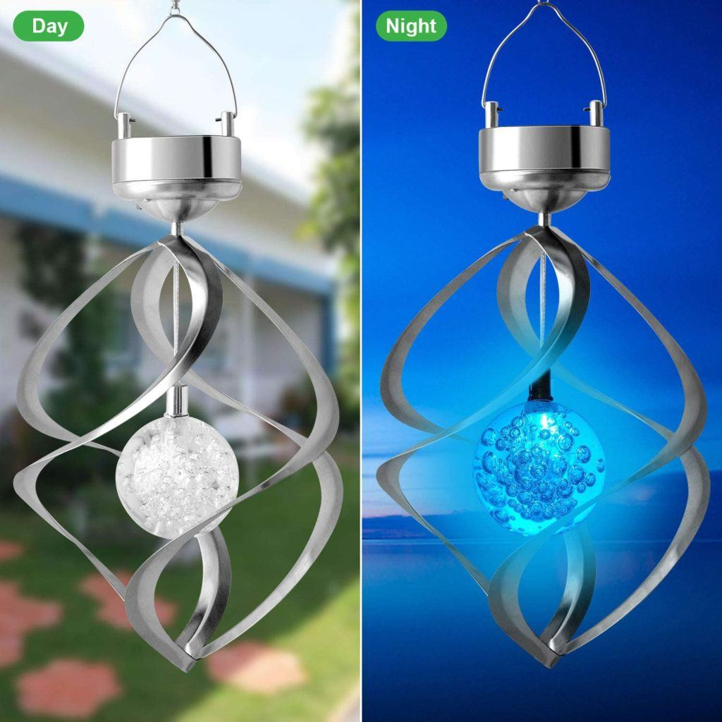 solar rotating wind chime in day and in night