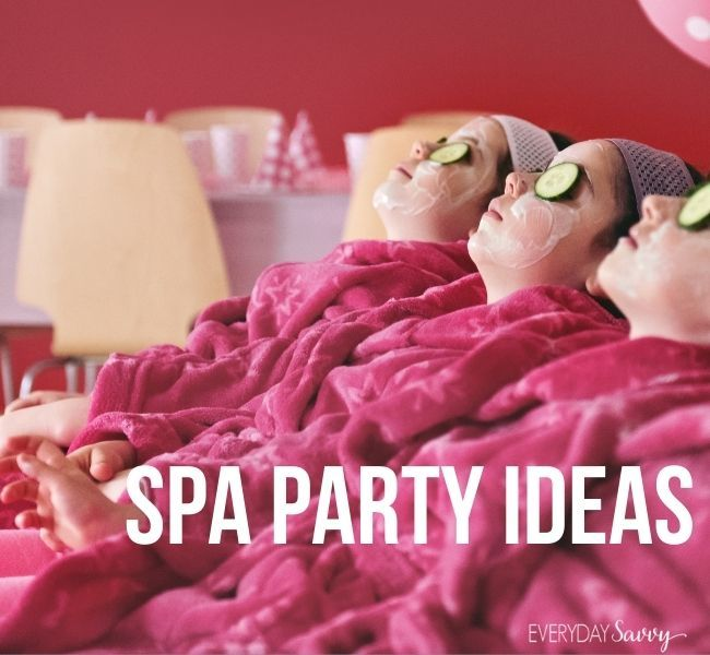 Spa Party Ideas - girls in robes with cucumbers over eyes