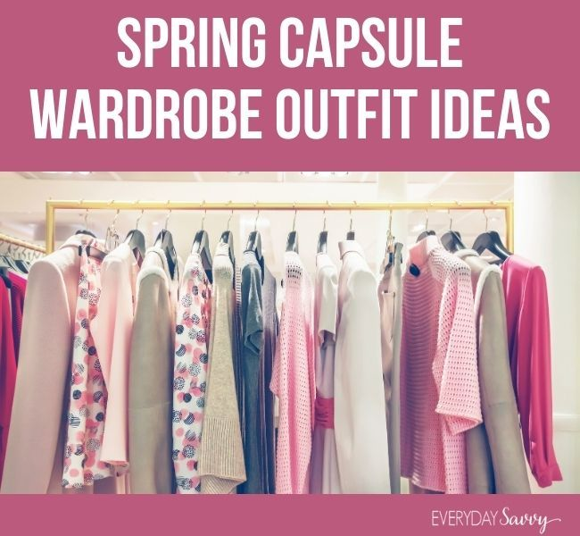 spring capsule wardrobe outfit ideas - clothes on hangers