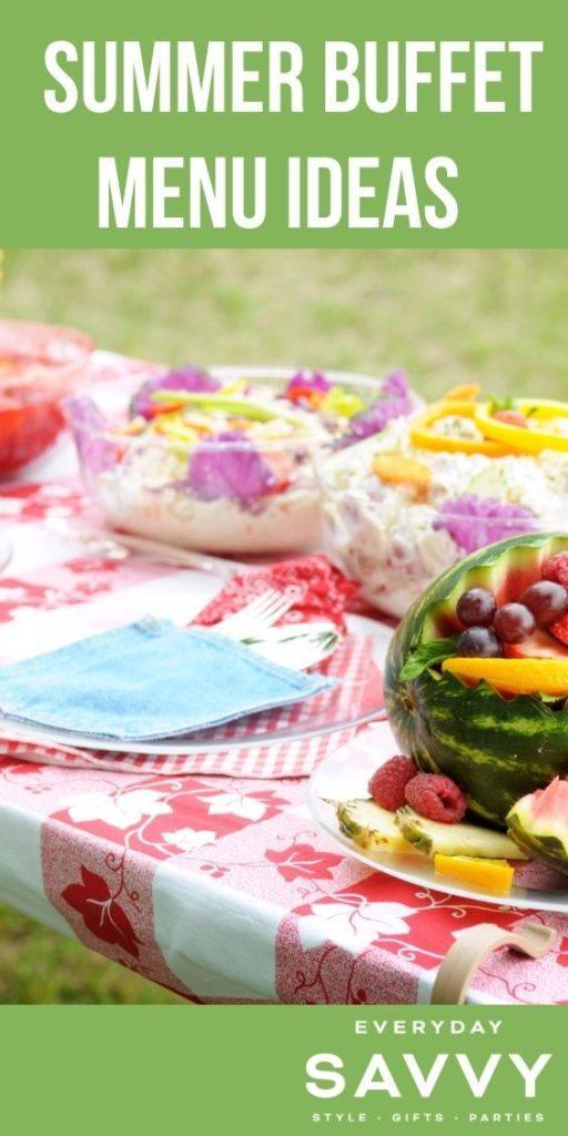 Summer Buffet Menu Ideas - buffet with fruit salad and pasta salad