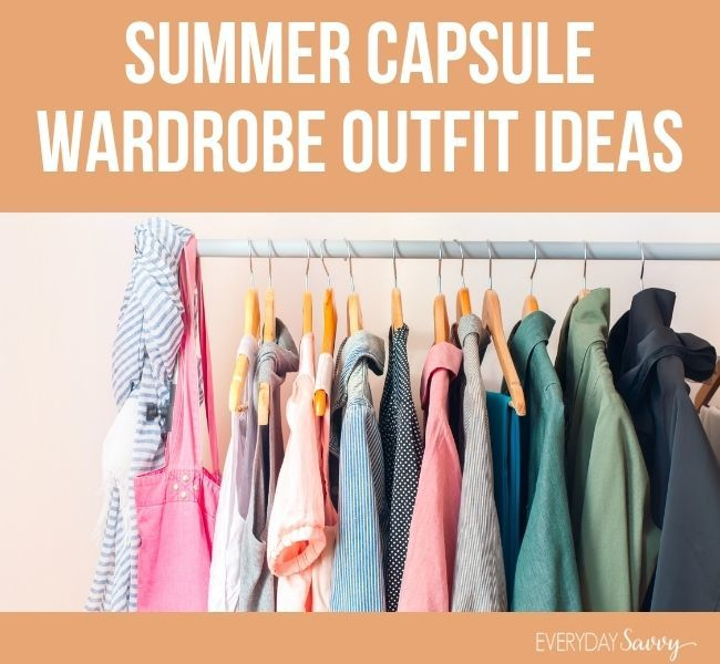 summer capsule wardrobe outfit ideas - clothes on hangers