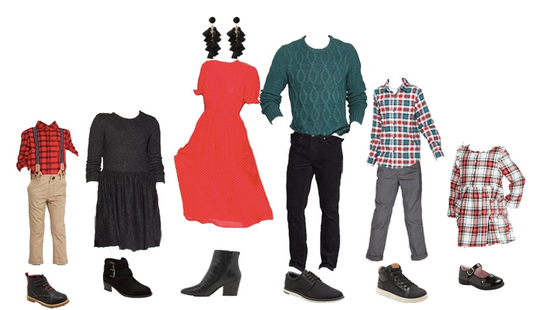 family Christmas picture outfits - red dress, green sweater, plaid shirts and plaid dress