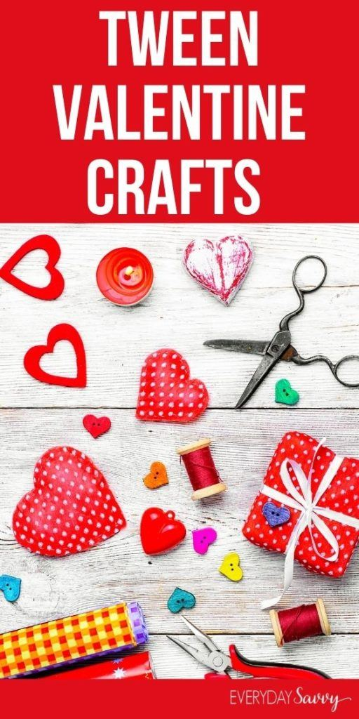Tween Valentine Crafts - scissors, hearts and red yarn on white wood