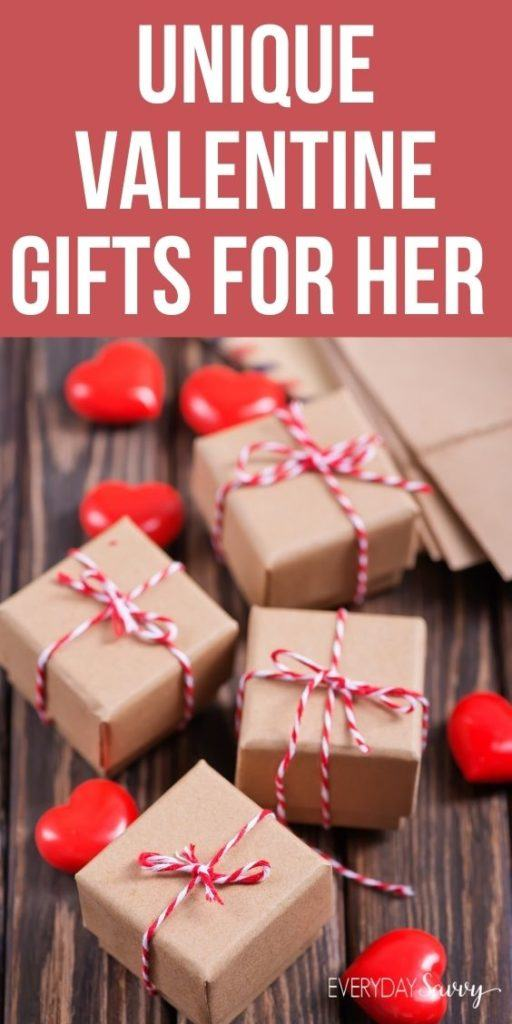 unique Valentine Gifts for Her - presents wrapped with red and white twine and hearts